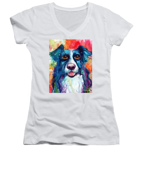 Whimsical Border Collie Dog Portrait Women's V-Neck T-Shirt (Junior Cut) by Svetlana Novikova