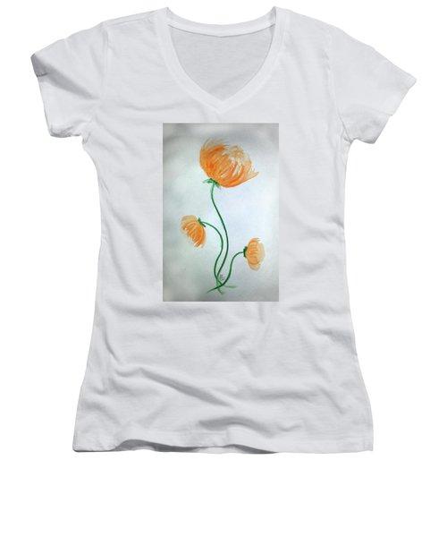 Whimsical Flowers Women's V-Neck T-Shirt