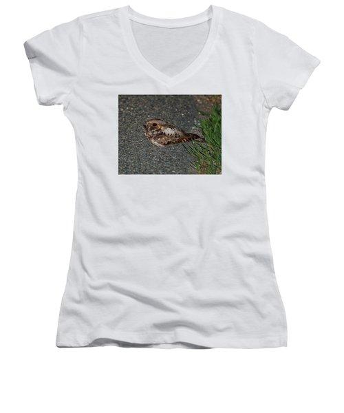 Whip-poor-will Women's V-Neck T-Shirt (Junior Cut) by Nancy Landry
