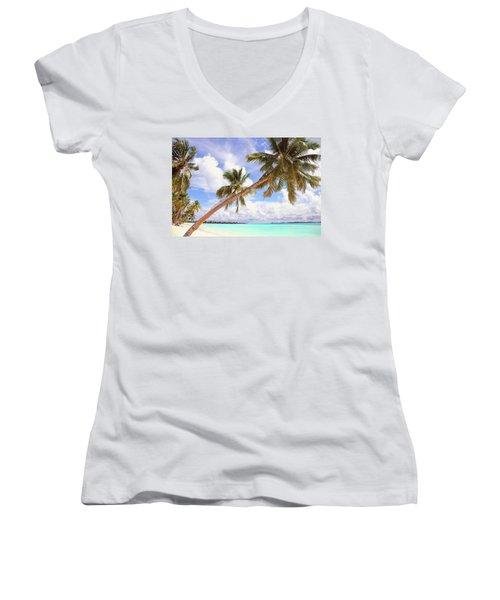 Whispering Palms. Maldives Women's V-Neck T-Shirt (Junior Cut) by Jenny Rainbow