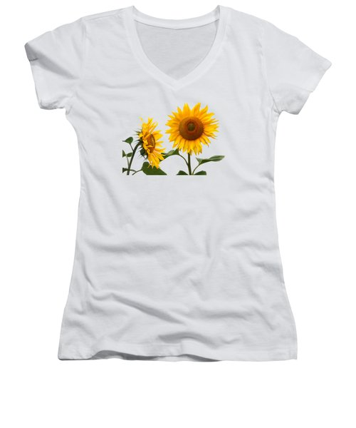 Whispering Secrets Sunflowers On White Women's V-Neck (Athletic Fit)