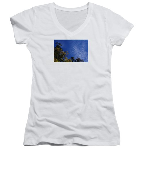 Whispy Clouds Women's V-Neck T-Shirt (Junior Cut) by Adria Trail