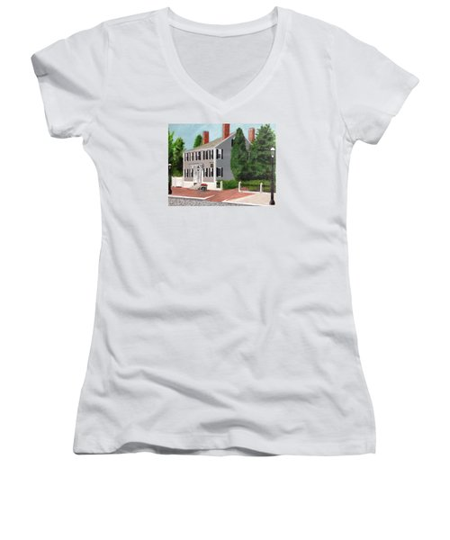 Women's V-Neck T-Shirt (Junior Cut) featuring the painting Whistler House by Cynthia Morgan