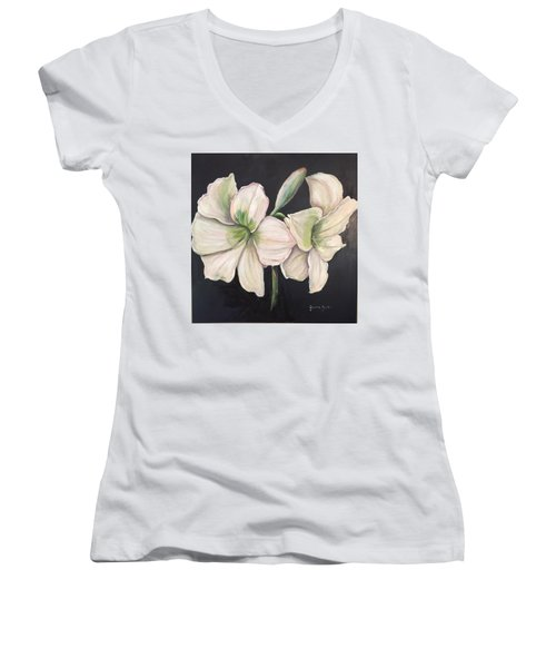White Amaryllis  Women's V-Neck (Athletic Fit)