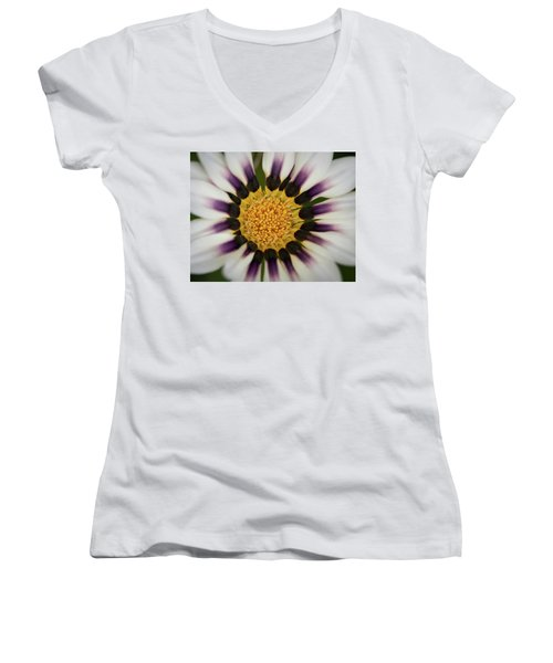 White And Purple Zinnia With Yellow Women's V-Neck (Athletic Fit)