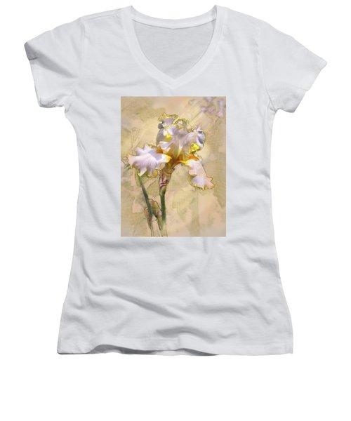 White And Yellow Iris Women's V-Neck