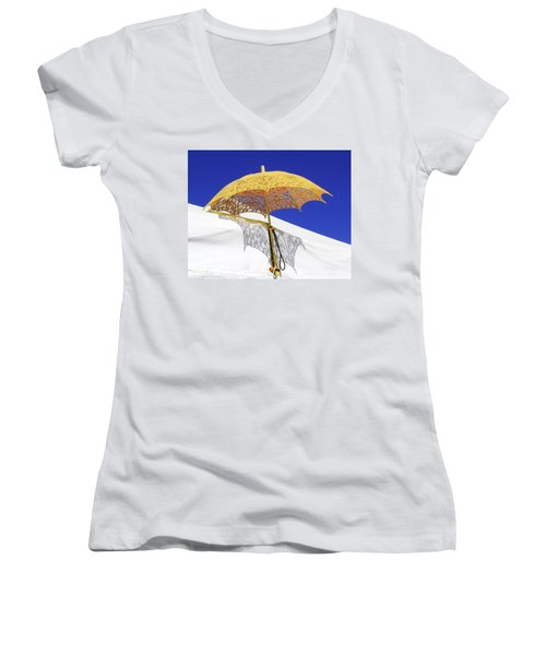White At Base And Yellow On Blue Women's V-Neck T-Shirt (Junior Cut) by Viktor Savchenko