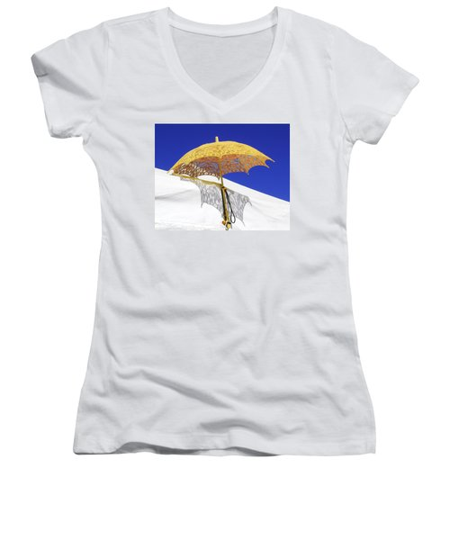 White At Base And Yellow On Blue Women's V-Neck