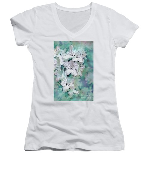 White Azaleas Women's V-Neck T-Shirt