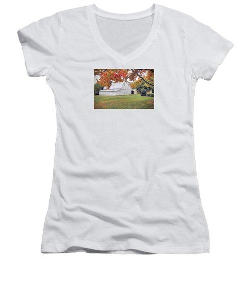 White Barn In Autumn Women's V-Neck T-Shirt (Junior Cut) by Marion Johnson