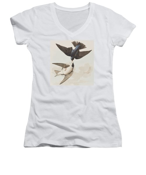 White-bellied Swallow Women's V-Neck T-Shirt (Junior Cut) by John James Audubon