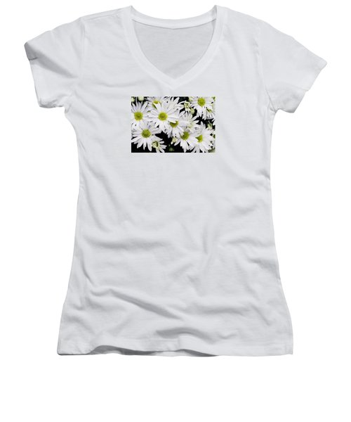 White Chrysanthemums Women's V-Neck