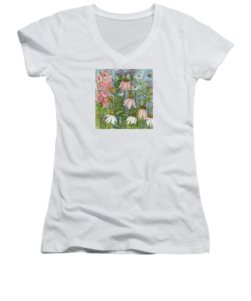 White Coneflowers In Garden Women's V-Neck