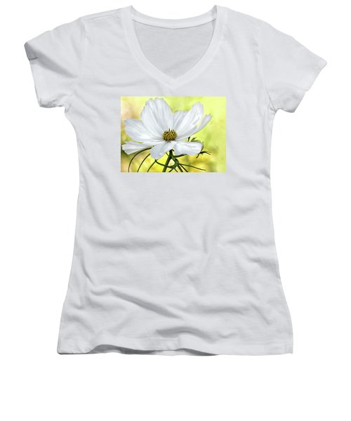White Cosmos Floral Women's V-Neck T-Shirt