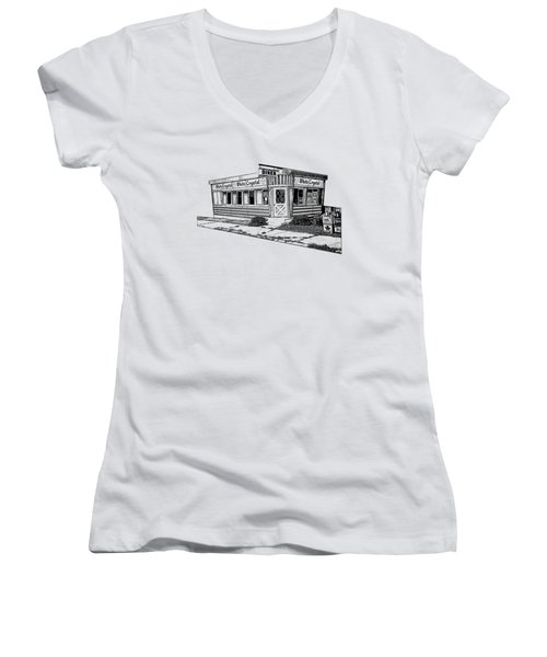 Women's V-Neck T-Shirt (Junior Cut) featuring the drawing White Crystal Diner Nj Sketch by Edward Fielding