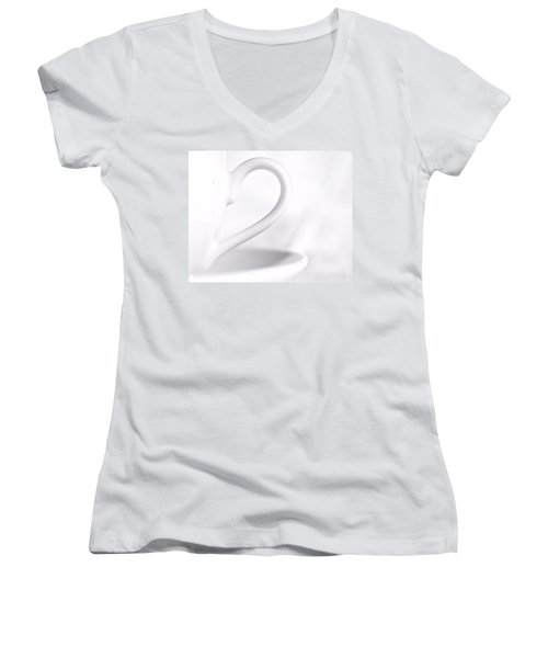 White Cup And Saucer Women's V-Neck T-Shirt (Junior Cut) by Josephine Buschman