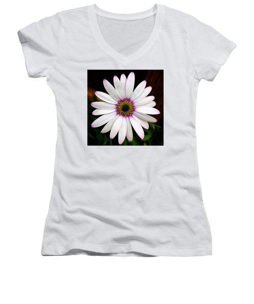 White Daisy Women's V-Neck