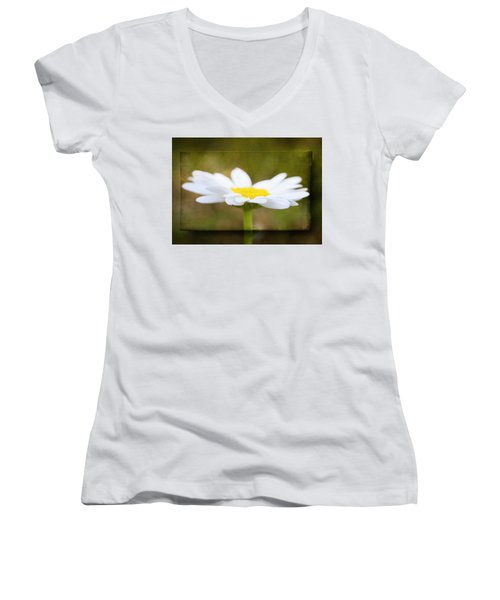 White Daisy Women's V-Neck T-Shirt (Junior Cut) by Eduard Moldoveanu
