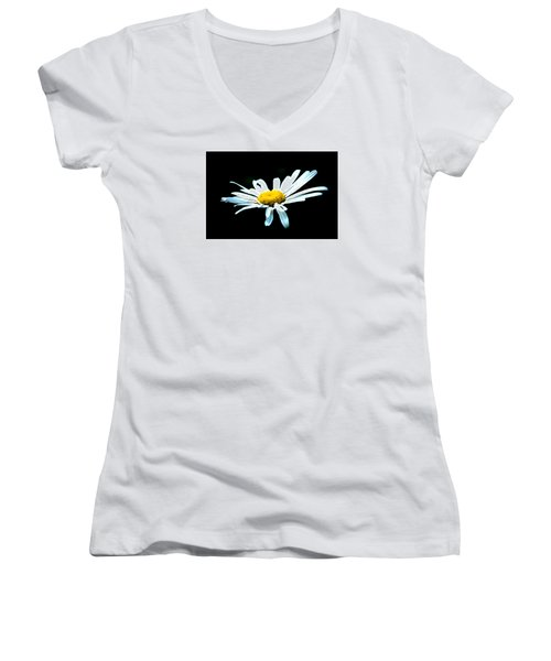 Women's V-Neck T-Shirt (Junior Cut) featuring the photograph White Daisy Flower Black Background by Alexander Senin