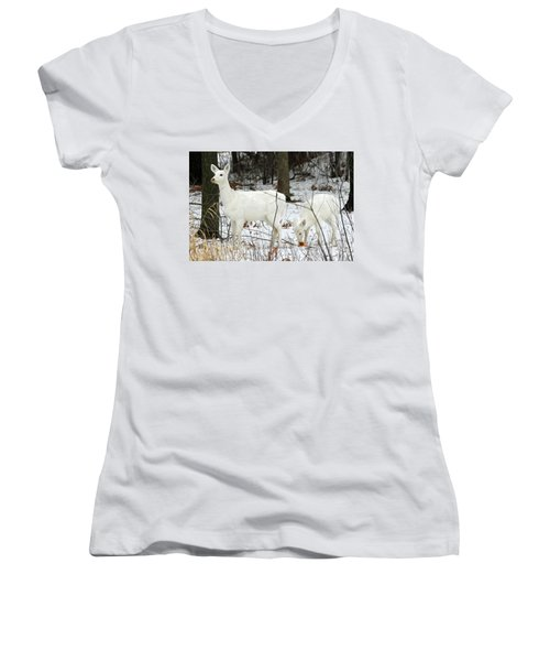White Deer With Squash 4 Women's V-Neck T-Shirt (Junior Cut) by Brook Burling