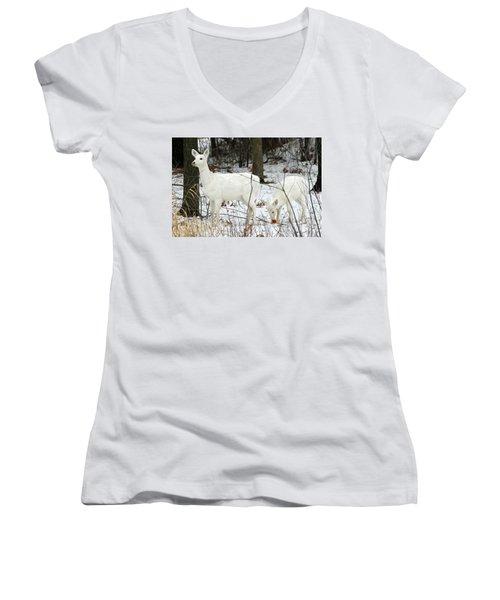 White Deer With Squash 4 Women's V-Neck T-Shirt