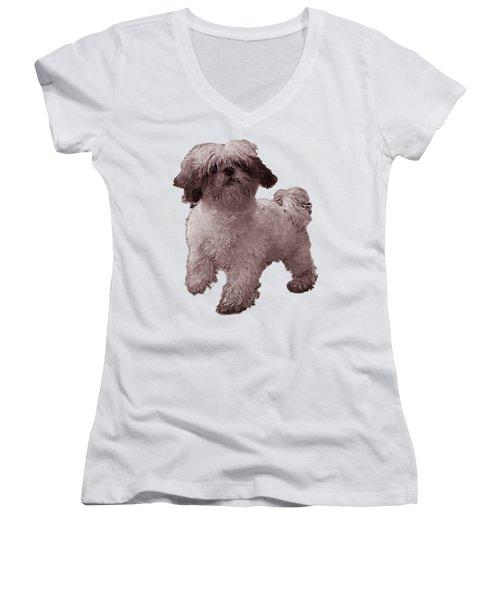 White Dog  Women's V-Neck T-Shirt