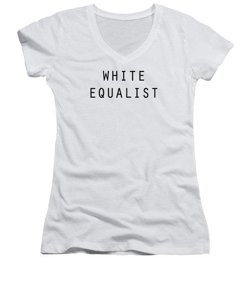 White Equalist Women's V-Neck T-Shirt