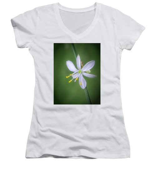 White Flower Women's V-Neck (Athletic Fit)