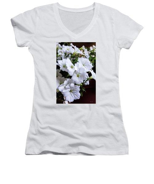 White Flowers Women's V-Neck (Athletic Fit)