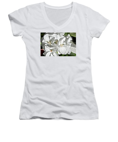 White Geraniums Women's V-Neck