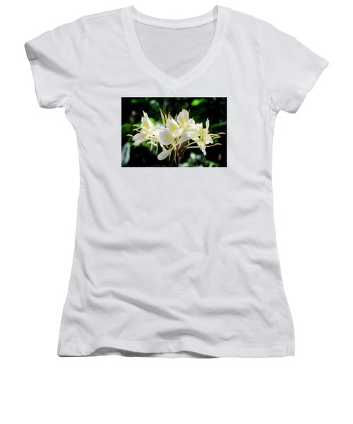 White Hawaiian Flowers Women's V-Neck T-Shirt