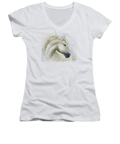 White Horse Watercolor Women's V-Neck (Athletic Fit)