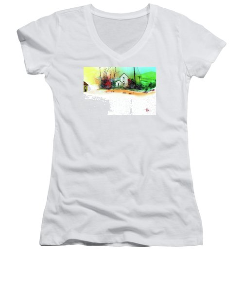 Women's V-Neck T-Shirt (Junior Cut) featuring the painting White Houses by Anil Nene