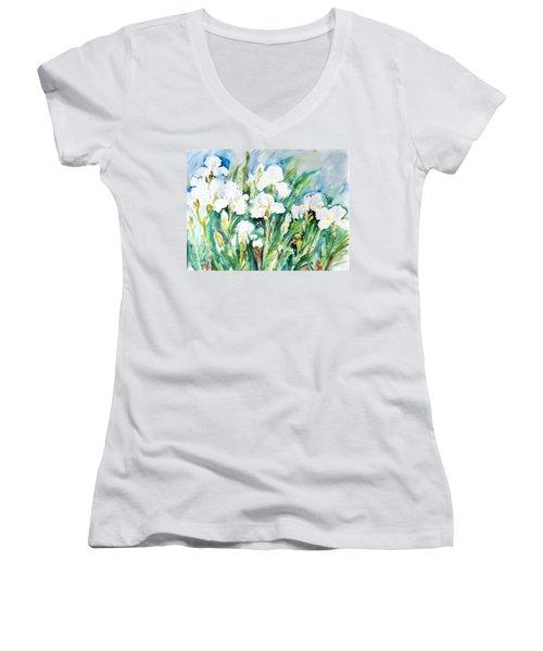 White Irises Women's V-Neck T-Shirt (Junior Cut) by Alexandra Maria Ethlyn Cheshire