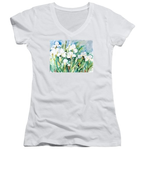 White Irises Women's V-Neck T-Shirt