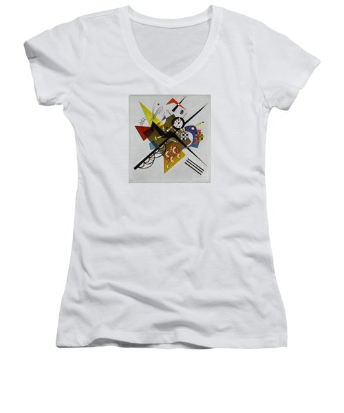 White Women's V-Neck T-Shirt (Junior Cut) by Kandinsky