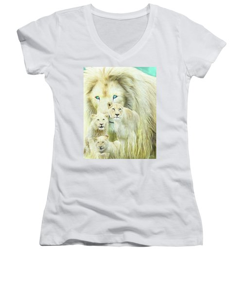 Women's V-Neck T-Shirt featuring the mixed media White Lion Family - Forever by Carol Cavalaris