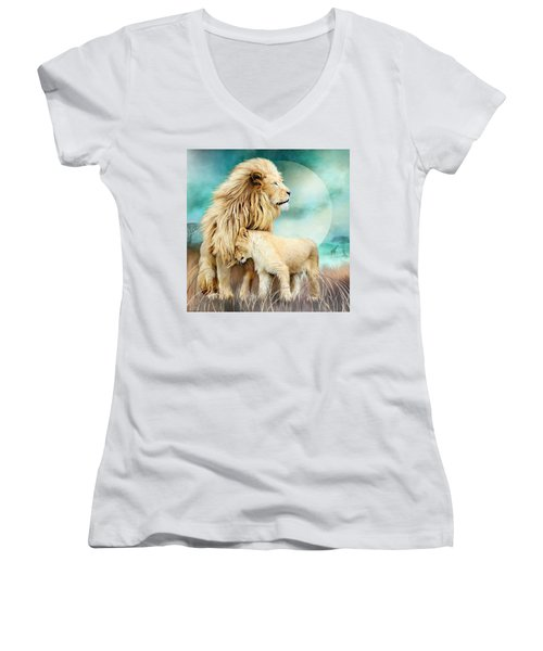 Women's V-Neck T-Shirt featuring the mixed media White Lion Family - Protection by Carol Cavalaris