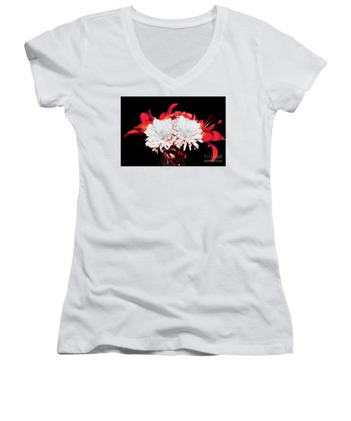 White Mums And Red Lilies Women's V-Neck