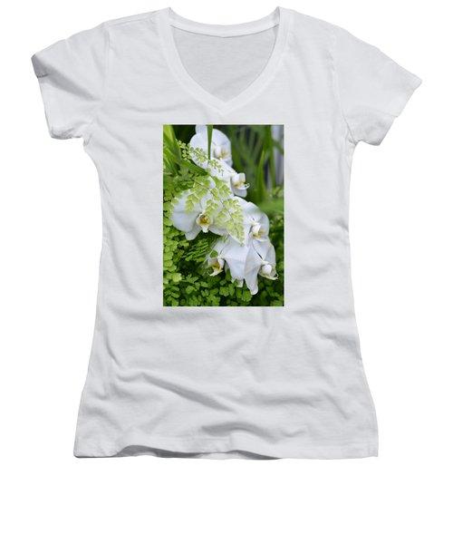 White Orchids Women's V-Neck T-Shirt (Junior Cut) by Ronda Broatch