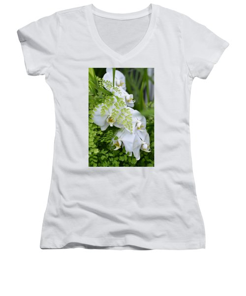 White Orchids Women's V-Neck (Athletic Fit)