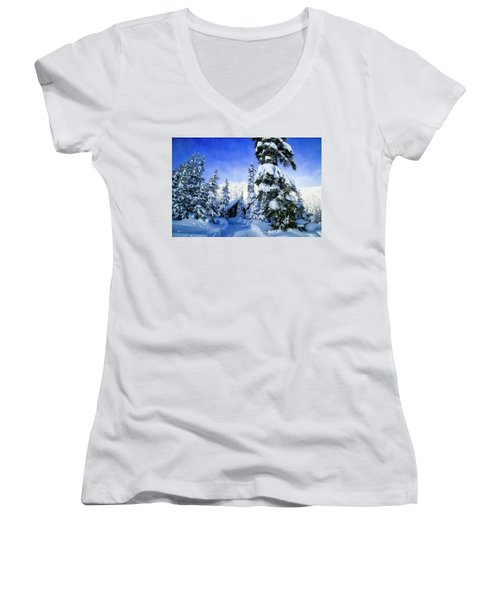White Pass Chalet Women's V-Neck T-Shirt (Junior Cut) by Lynn Hopwood