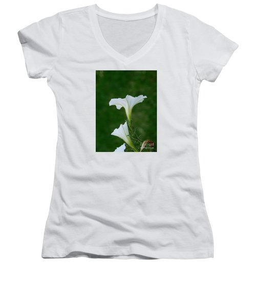 White Petunia Blossoms Women's V-Neck (Athletic Fit)