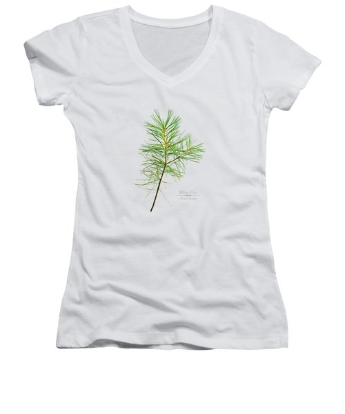 Women's V-Neck T-Shirt (Junior Cut) featuring the mixed media White Pine by Christina Rollo