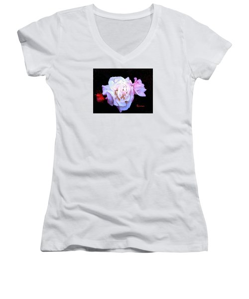 Women's V-Neck T-Shirt (Junior Cut) featuring the photograph White - Pink Roses by Sadie Reneau
