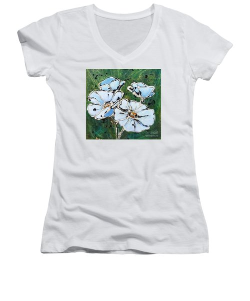 White Poppies Women's V-Neck T-Shirt (Junior Cut) by Phyllis Howard