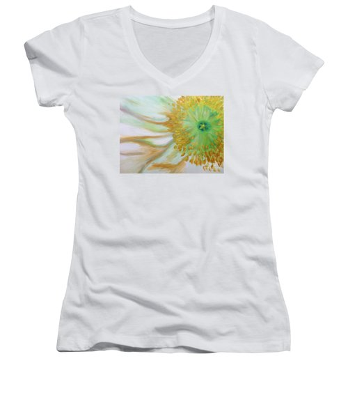 Women's V-Neck T-Shirt (Junior Cut) featuring the painting White Poppy by Sheron Petrie