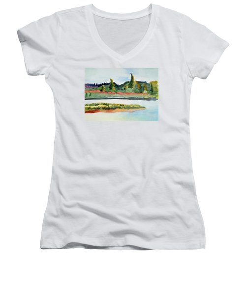 White River At Royalton After Edward Hopper Women's V-Neck T-Shirt