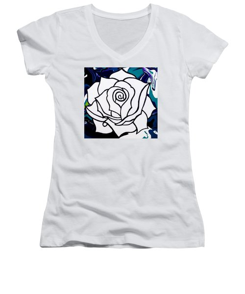 White Rose Women's V-Neck