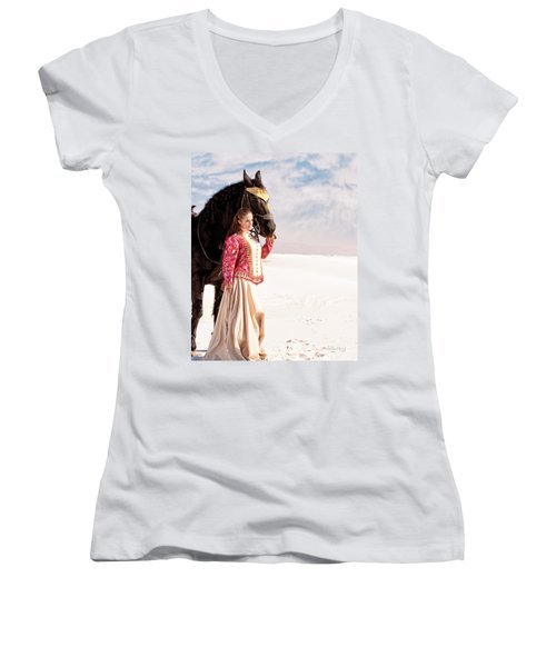 White Sands Horse And Rider #2a Women's V-Neck (Athletic Fit)